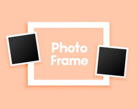 minimal photo frames on pastel background