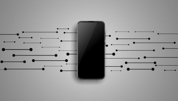 mobile mockup design with lines in background
