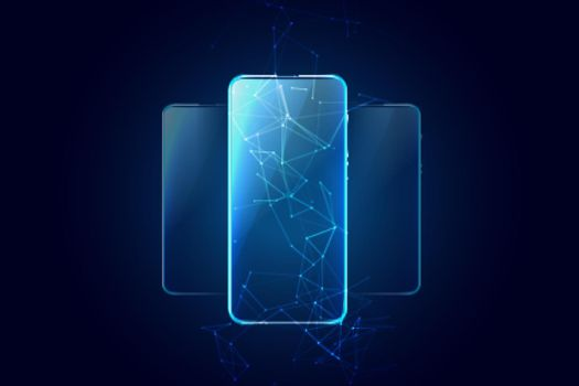 mobile technology background with three phones