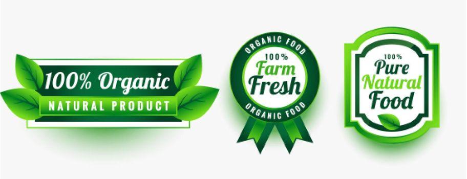 organic pure fresh natural food labels set