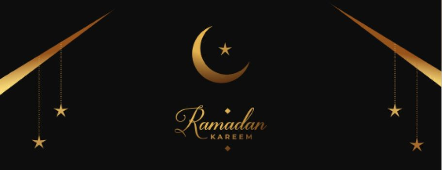 ramadan and eid banner in black and golden colors