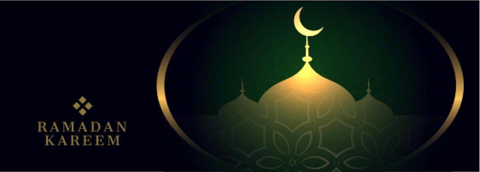 ramadan kareem banner with mosque design