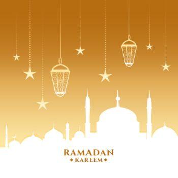 ramadan kareem card with mosque and lanterns