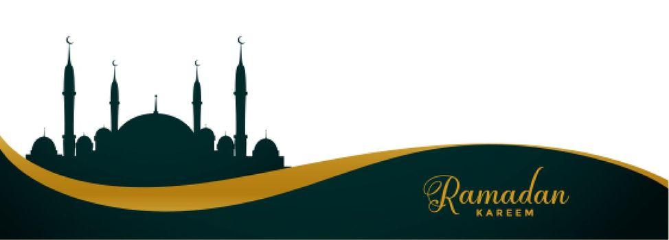 ramadan kareem wide banner with mosque design