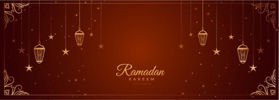 ramadan kareem wishes banner with arabic decoration