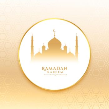 ramadan kareem wishes card with mosque design