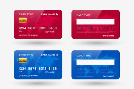 red and blue credit card mockup template design