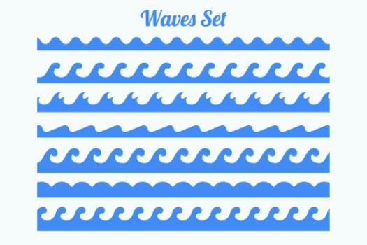 sea waves pattern borders set of seven