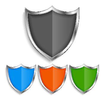 shiny metallic shield symbols badges set