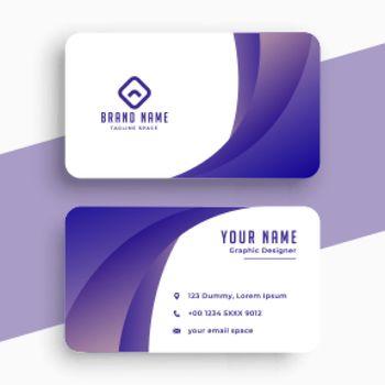 stylish purple business card with wavy shape