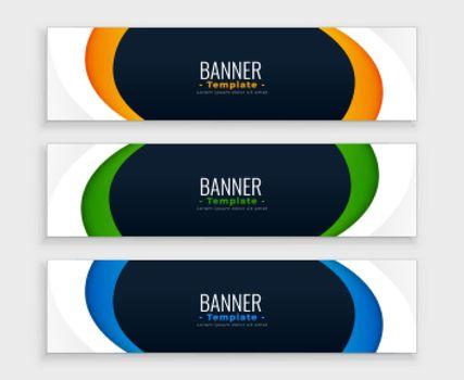 stylish web modern curvy banner design set
