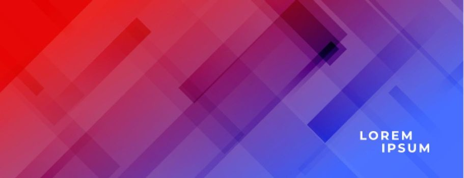 vibrant red and blue banner with diagonal lines