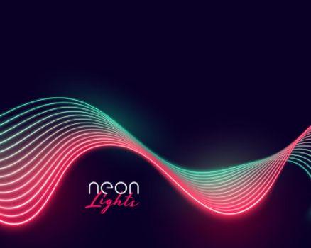 wavy neon light lines display background