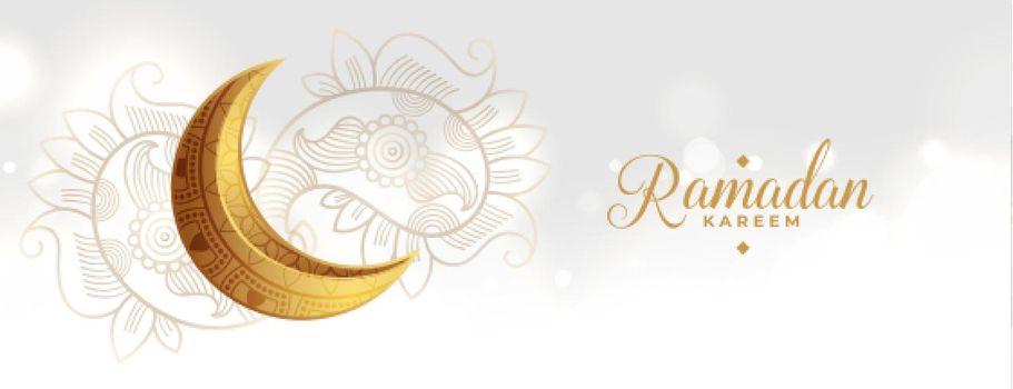 golden eid festival moon with paisley decoration