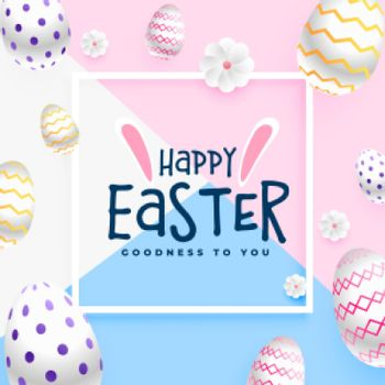 happy easter greeting card in pastel colors