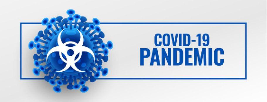 coronavirus pandemic outbreak banner with microscopic virus cell
