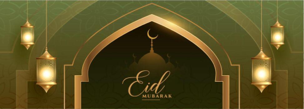 beautiful eid festival banner with islamic lantern