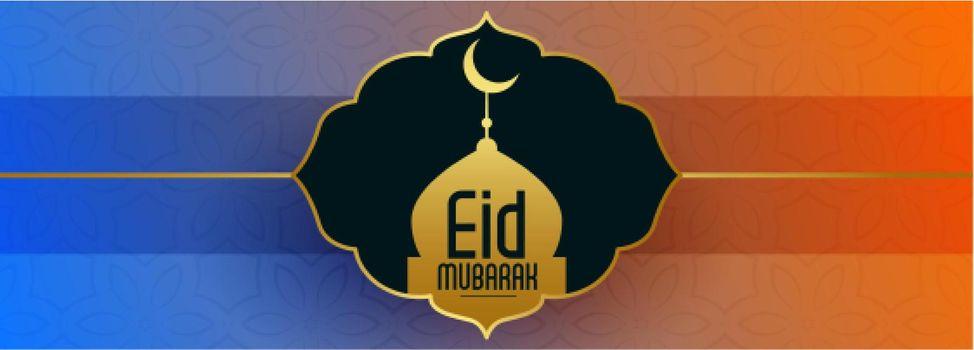 eid mubark festival banner with golden mosque