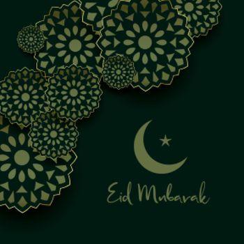 eid mubarak greeting with islamic decoration design
