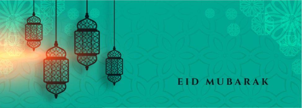 eid mubarak banner with islamic lantern decoration