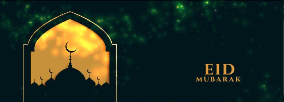 eid mubarak golden banner with mosque design