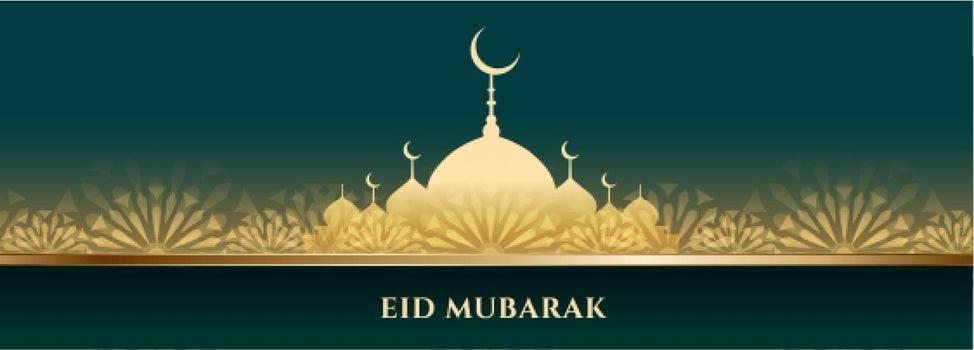 decorative mosque banner for eid mubarak festival
