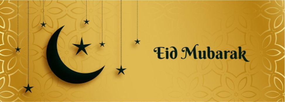 golden eid mubarak banner with moon and star