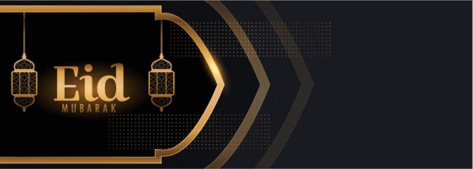 eid mubarak beautiful black and gold banner