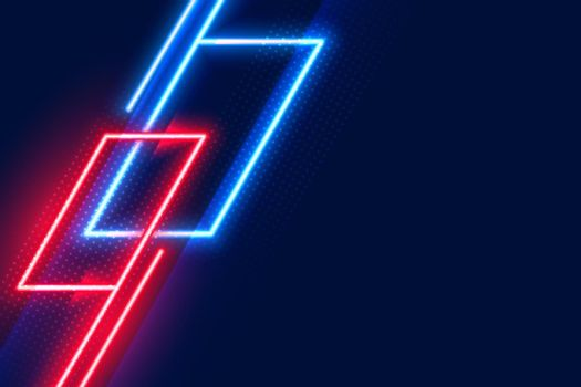geometric glowing neon red and blue lights background
