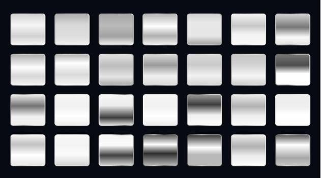 set of metallic steel or platinum gradients