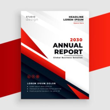red annual report or business flyer template design