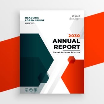 red business template annual report flyer design