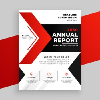 modern red theme annual report business template design
