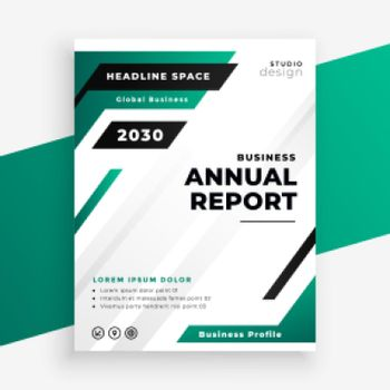stylish turquoise color annual report business template