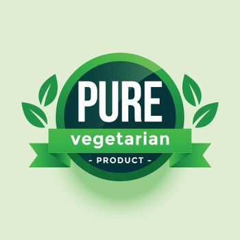 pure vegetarian product green leaves label design