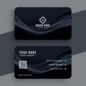 dark business card with wavy lines design