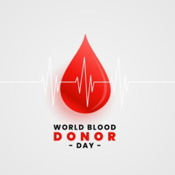 world blood donation day concept poster with blood drop