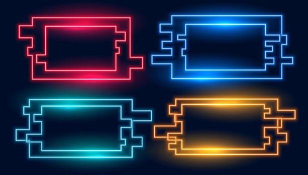 geometric rectangular neon frames in four colors set
