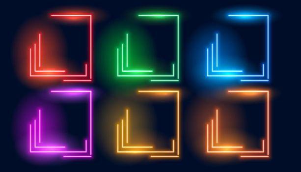 set of six neon colorful geometric empty frames