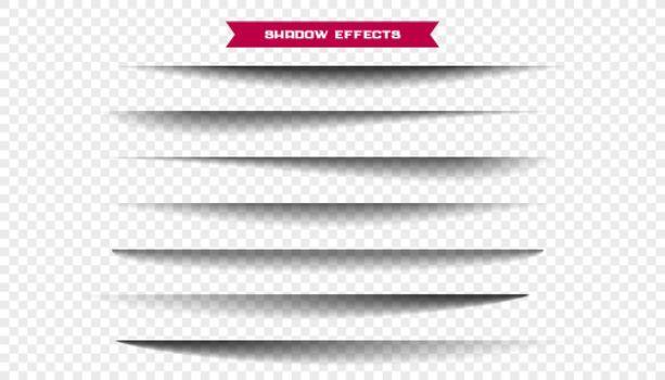 seven realistic wide paper sheet shadows set