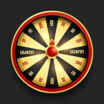 realistic wheel of fortune in golden color