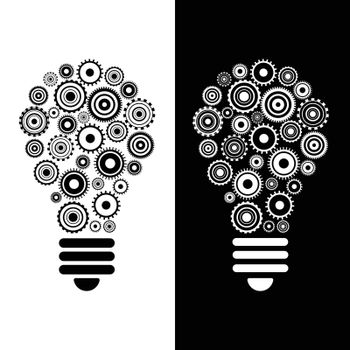 idea and innovation bulb and gears background