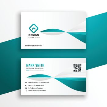 stylish turquoise and white business card design