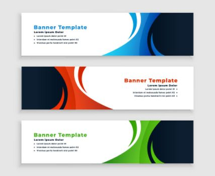 set of modern business banners with curvy shape