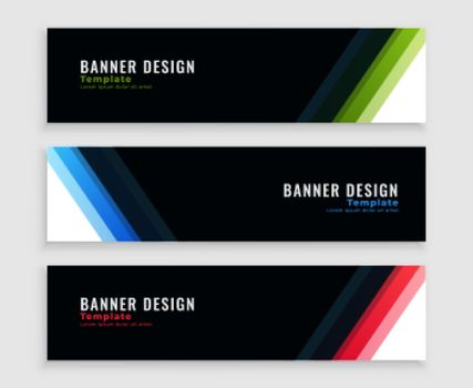 modern dark business banners set in three colors