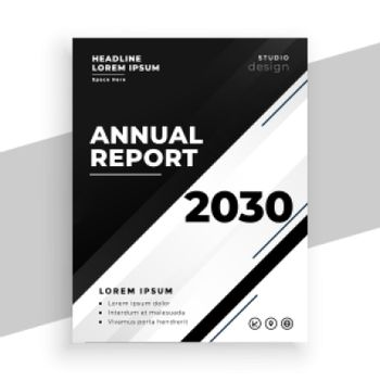 abstract black and white annual report business brochure template