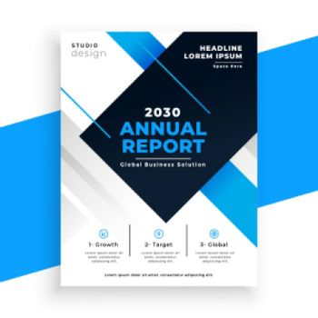 abstract blue annual report busienss brochure design template