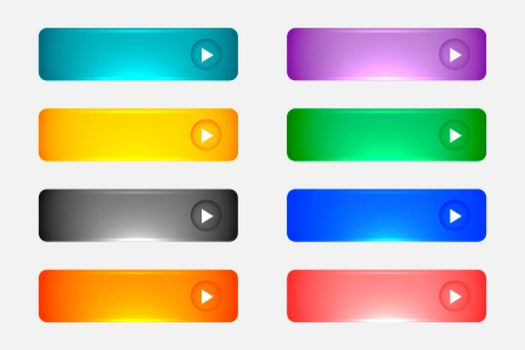 shiny or glossy web empty colorful buttons set
