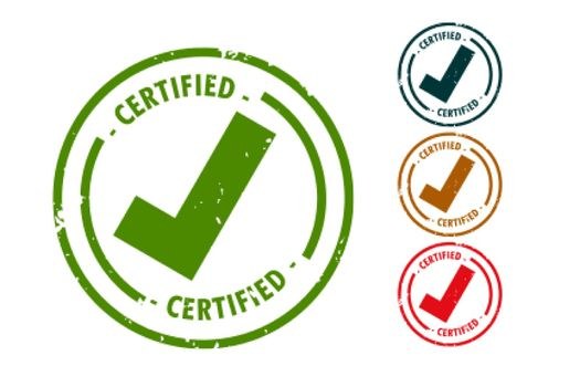 certified checkmark tick rubber stamp set design