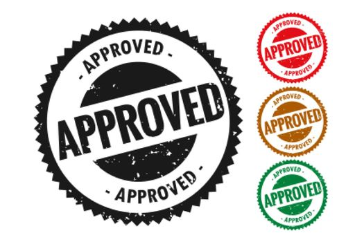 approved stamp in rubber style set of four